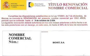 Renovación nombre comercial Biovet S.A.