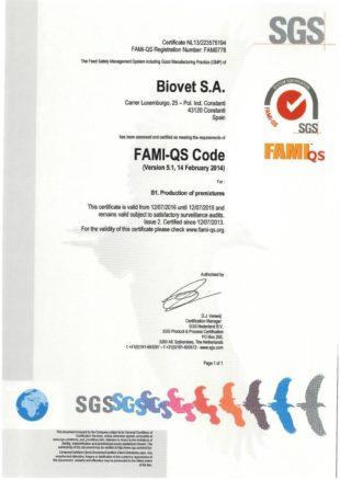 Biovet recibe el certificado FAMI QS