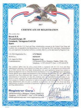 百卫更新食品与药物管理局的证书