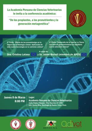 """Conferencia en la APCV """"De los proplastos, a los pronutrientes y la generación metagenética"""""""