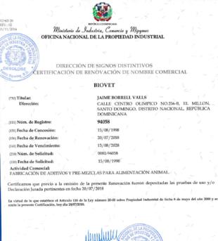 Biovet S.A. renueva la marca comercial en República Dominicana