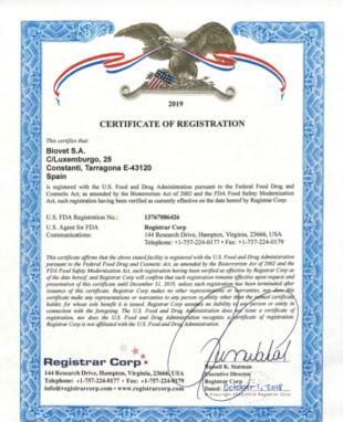 Biovet S.A. Laboratorios renueva el certificado de la Food and Drug Administration