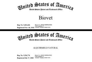 Las marcas Biovet, Alquermod Natural y Alquernat Nebsui, registradas en EE.UU.