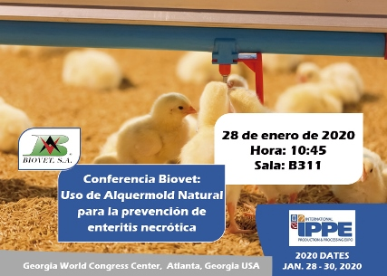 Use of Alquermold Natural to prevent and treat necrotic enteritis, conference at the IPPE