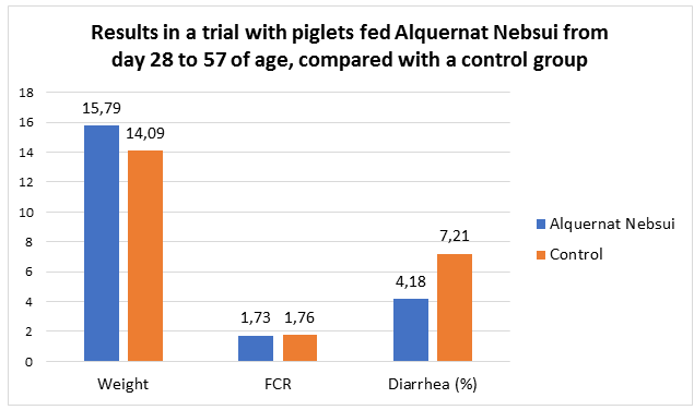 Results in a trial with piglets fed Alquernat Nebsui from day 28 to 57 of age, compared with a control group